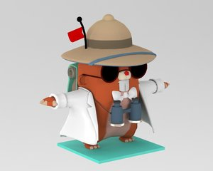 beaver cartoon 3D