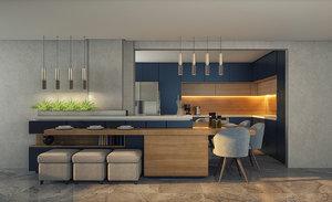 3D model kitchen bar chairs modern