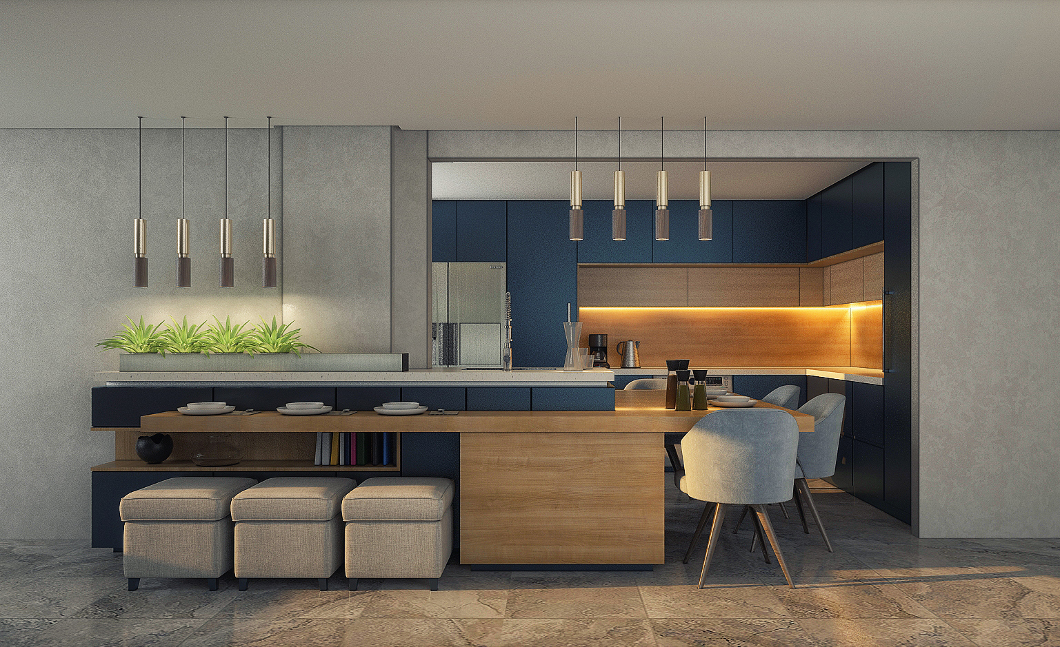 Modern Open Kitchen With Bar Interior Scenes 3d Model