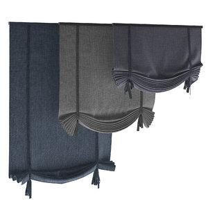 3D roman blinds set model