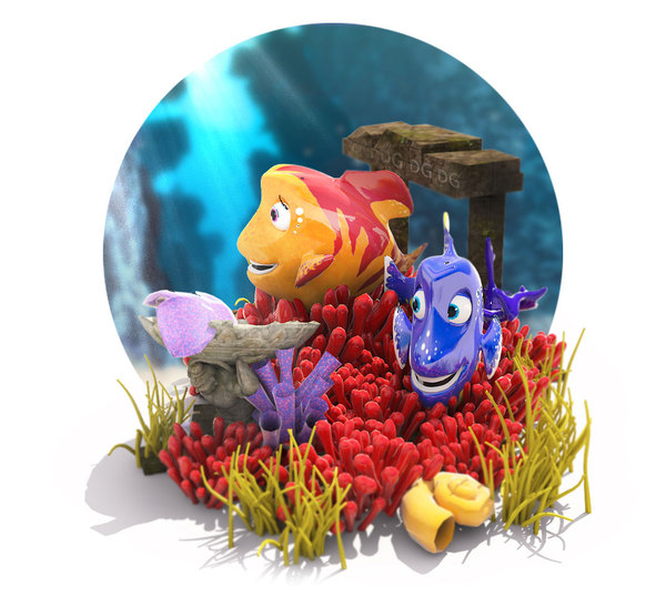 cartoon fish underwater scene 3D
