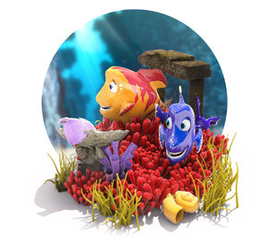cartoon fish underwater scene 3D