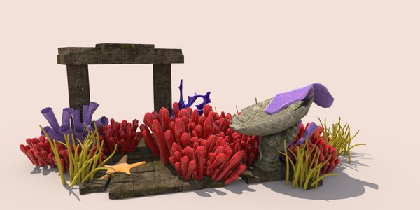 coral reef plants underwater scene 3D model