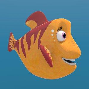 3D model cartoon fish yellow female rigged