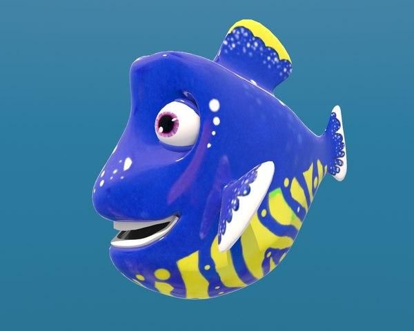 cartoon fish blue male rigged model