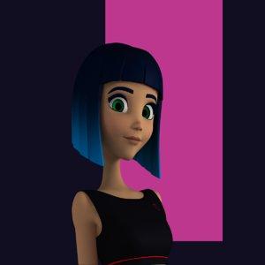 female character teen 3D model