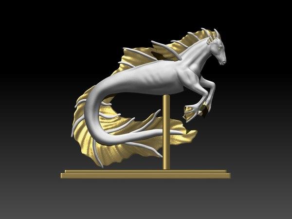 3D seahorse horse sea