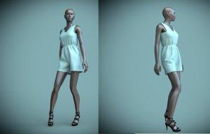 female mannequin jumpsuit shorts 3D