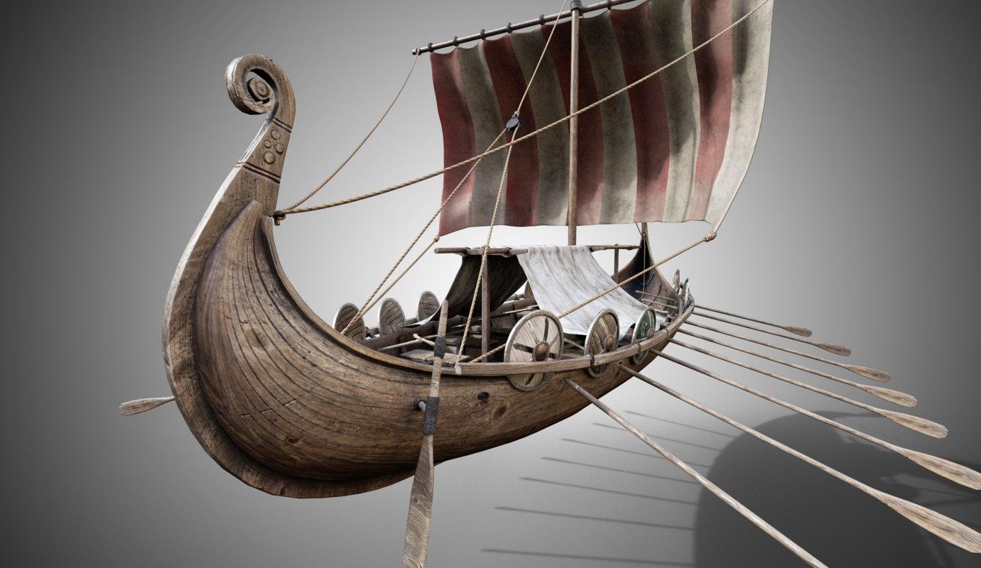 3D model drakkar viking ship