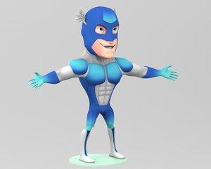 super hero cartoon man 3D model