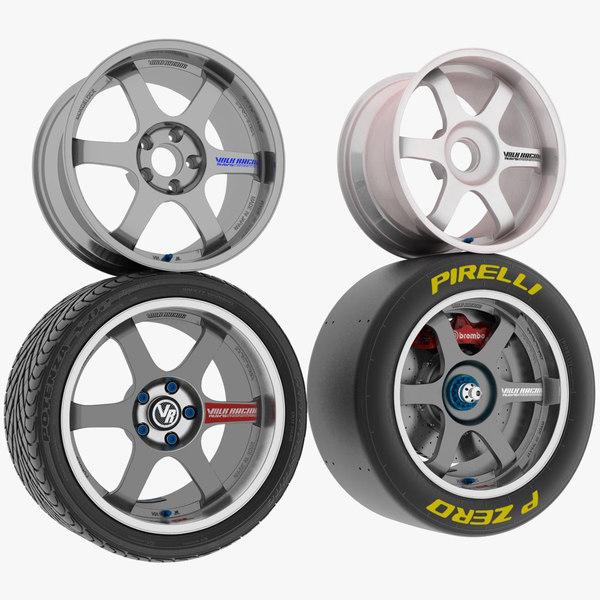 racing wheels tires 3D model