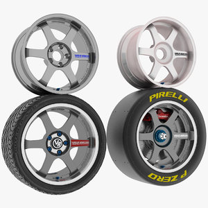 racing wheels tires 3D model