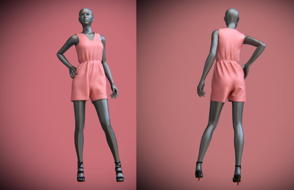 3D female mannequin jumpsuit shorts