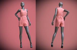 3D female mannequin jumpsuit shorts