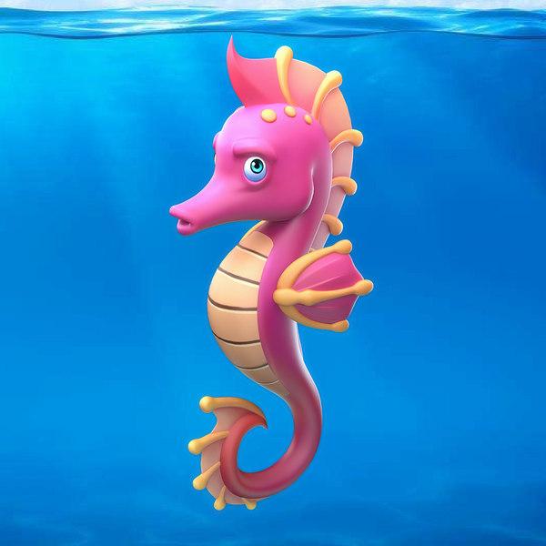 cartoon seahorse 3D model
