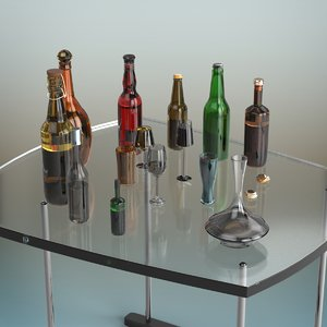 3D beer bottle set