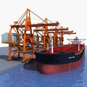 3D ship unloader crane bulk carrier model