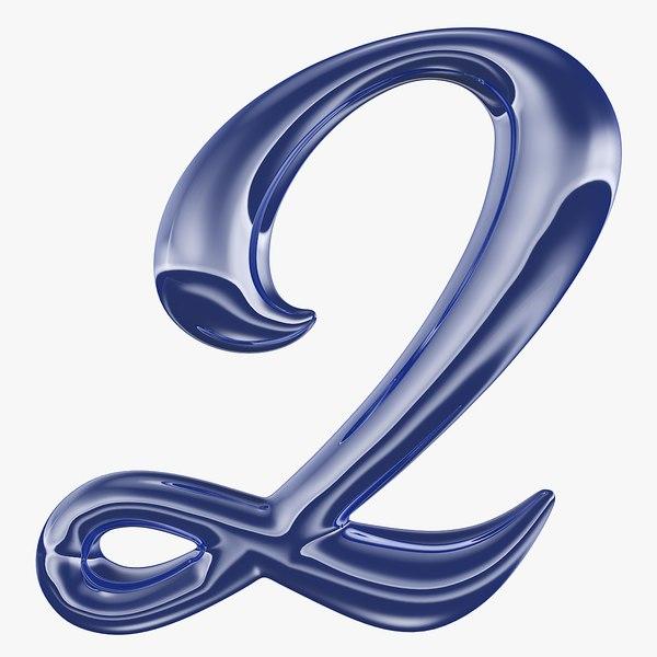 calligraphic digit 2 number 3D model
