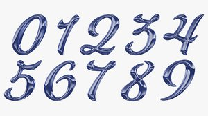calligraphic digits numbers 0 3D model
