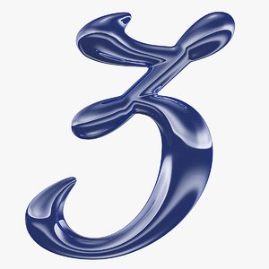calligraphic digit 3 number 3D model