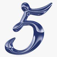 calligraphic digit 5 number 3D