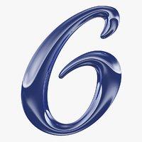 calligraphic digit 6 number model