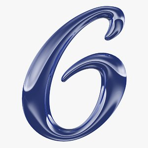 calligraphic digit 6 number model