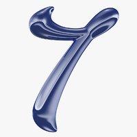 3D calligraphic digit 7 number model