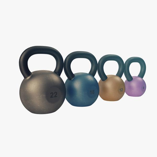 3D model kettlebell set