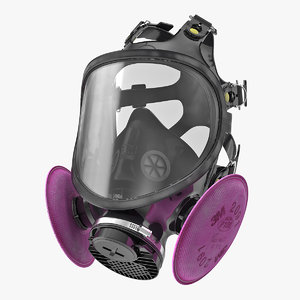 3D model face respirator gas mask