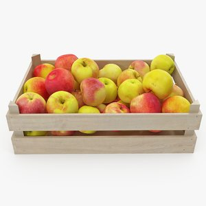 3D model apples 06-09 wooden crate