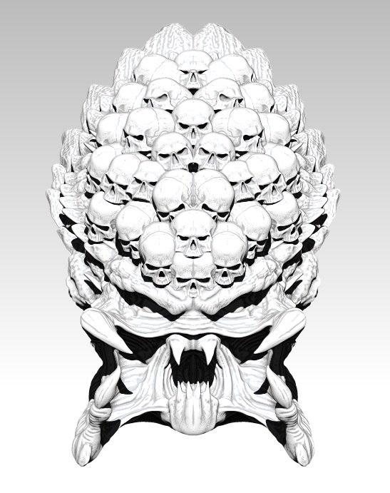 3D skull head monster model