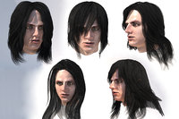 Male long hair lowpoly 5 species