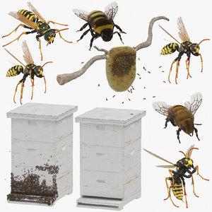 3D model bees wasps hives