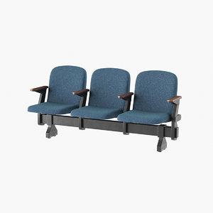 realistic theatre chair open 3D model