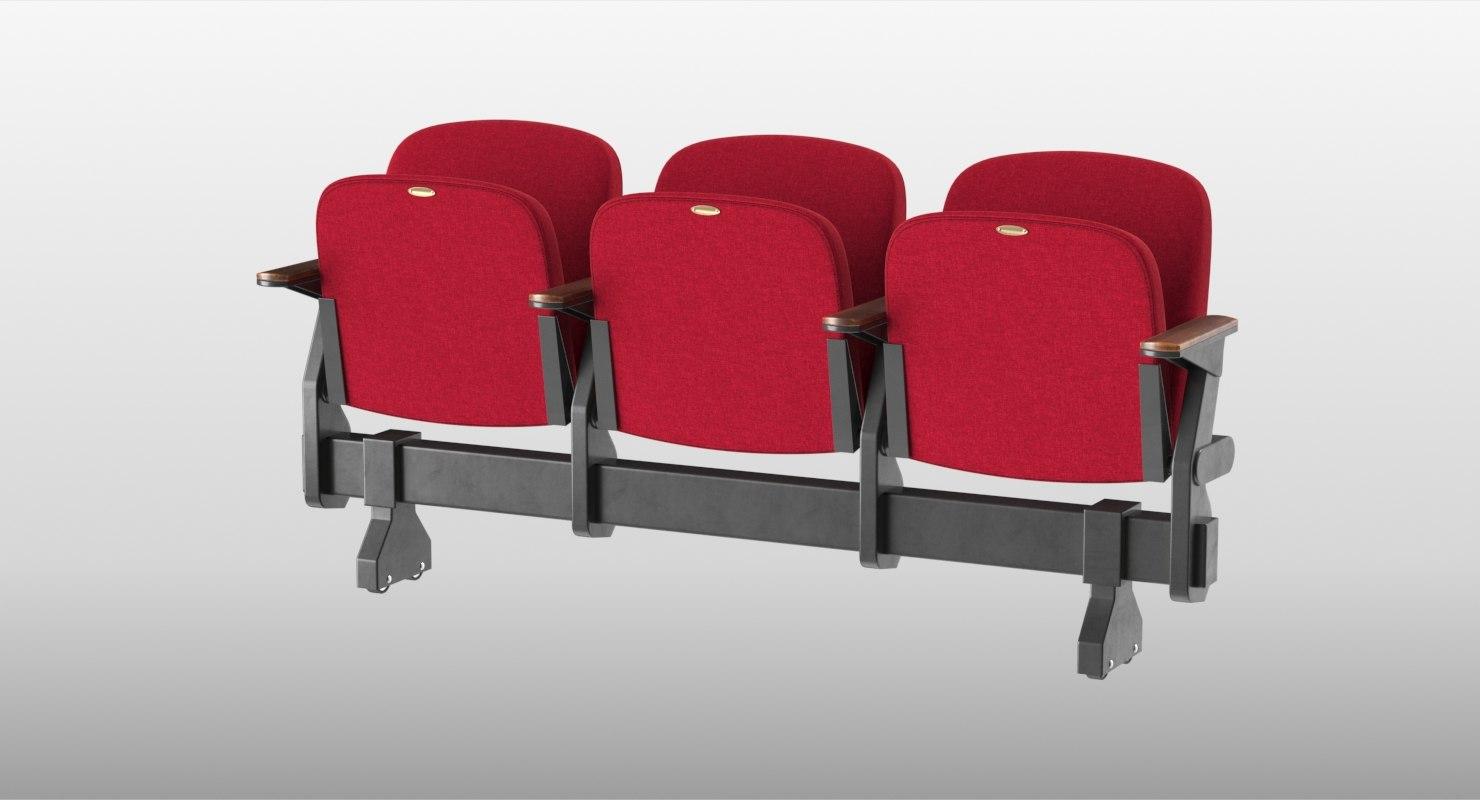 3D model realistic theatre chair close