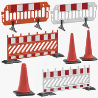 construction barriers cones 3D model