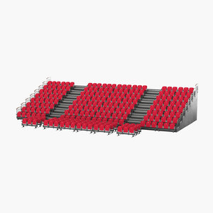 3D realistic theatre seats tribune model