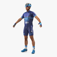 athlete cyclist blue rigged 3D model