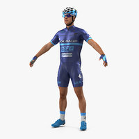 bicyclist t pose blue 3D
