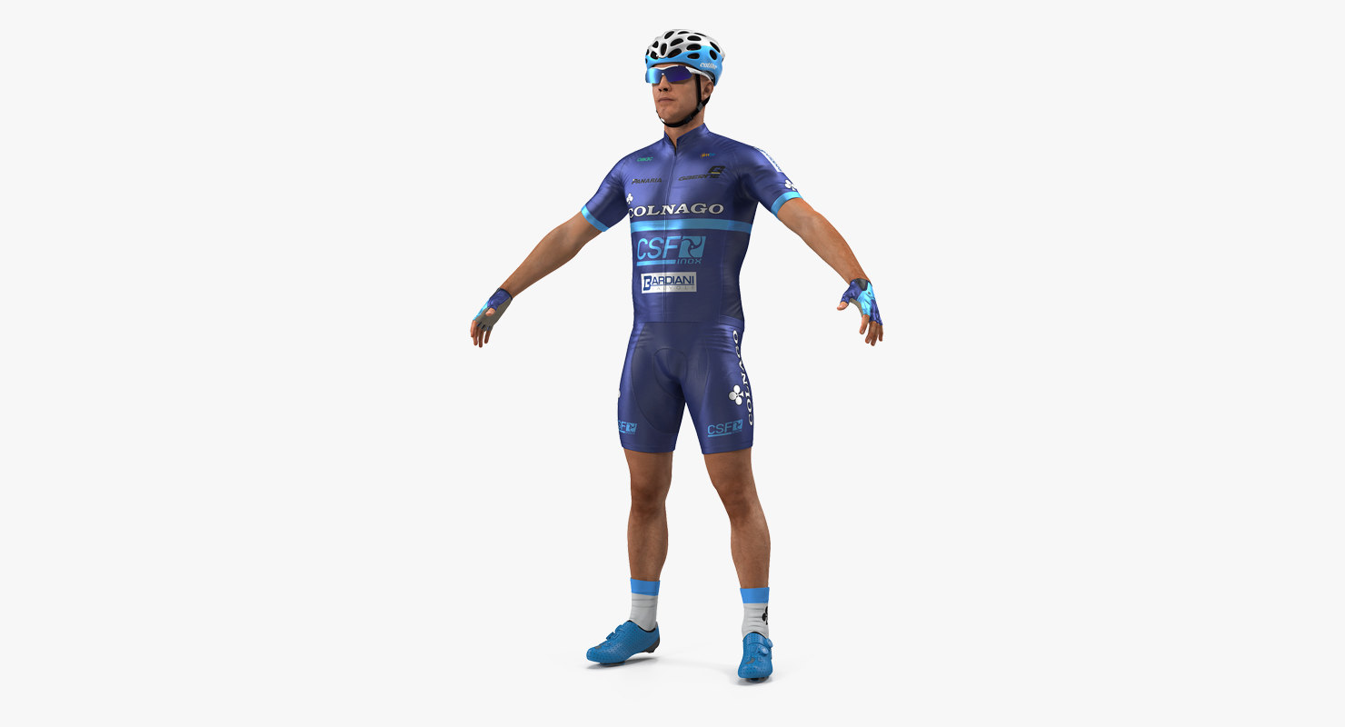 bicyclist t pose blue 3D
