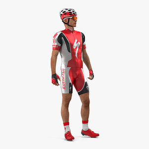 bicyclist red suit rigged model
