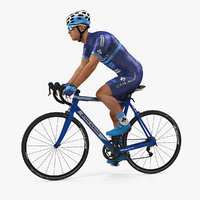 Athlete Cyclist in Blue Suit Riding Bike Rigged 3D Model