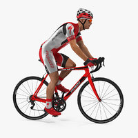 3D bicyclist red suit riding