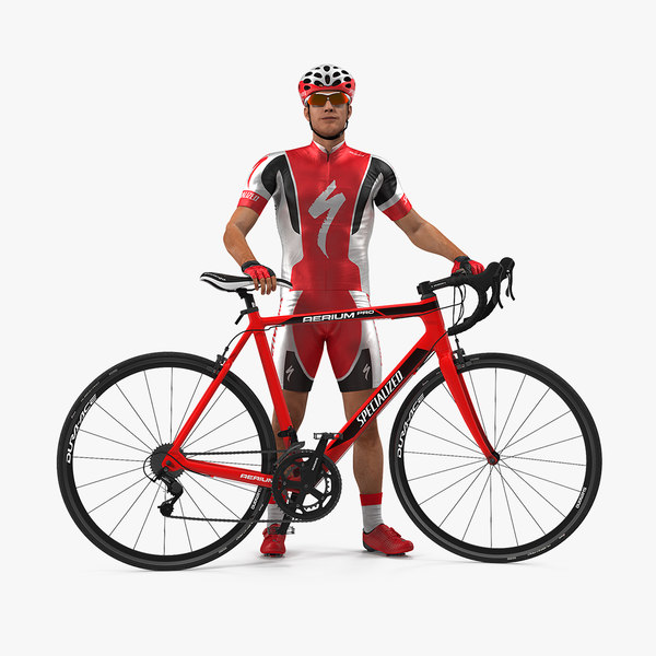 bicyclist red suit bike 3D model