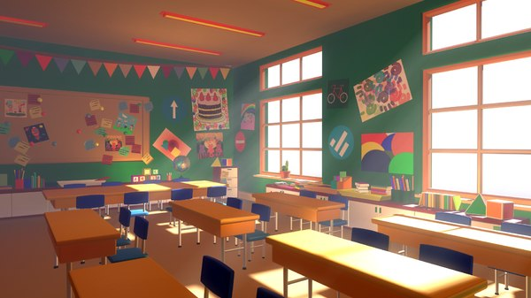 3D classroom 02 cartoon - model