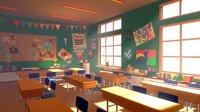 3D classroom 02 cartoon - model