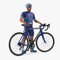 Cyclist Athlete in Blue Suit with Bicycle 3D Model