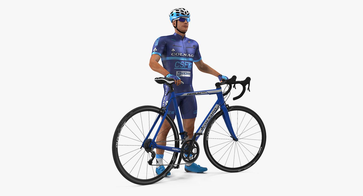 cyclist athlete blue suit 3D model