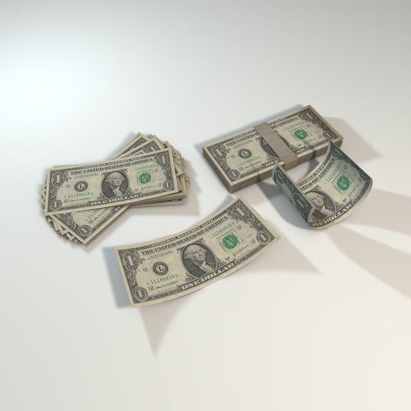 american dollar bills 3D